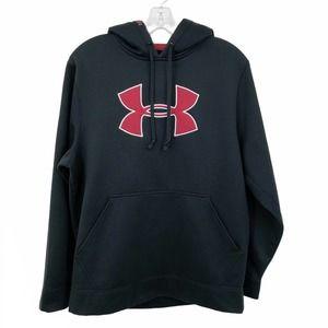 Under Armour Hooded Sweatshirt Black & Red Logo Sm